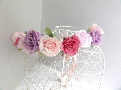 画像2: 花冠 1連・アジサイ、パール、リボン