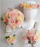 他の写真3: ラウンドブーケ スワロ 色はドレスに合わせて。 20cm(花のみ) 全体では24cm  リニューアルキャンペーン価格