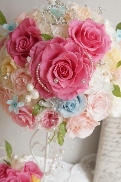 画像1: ミッキーブーケ ラウンド スワロ&パールフリンジ ピンク 花のみ22cm