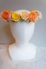 花冠 1連 ランダムな大きさ 3-6cm薔薇 アジサイ、パール、リボン