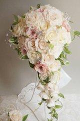 ロングキャスケードリュクス オールドローズ &スワロ横幅(花のみ)22cm長さ約60