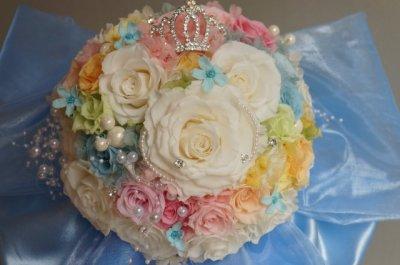 画像2: スワロの輝るミッキーブーケ 大き目リボンで スワロ 花のみ22cm