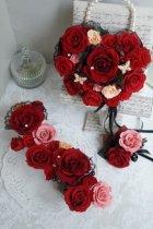 他の写真2: アモローサ&チュール スワロバタフライ 赤 横幅22cm(薔薇の部分のみ)