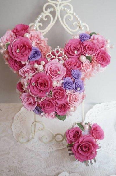 画像4: ミッキーバックブーケIV アクセント薔薇を入れて 色違い可 大きさ横幅約27cm