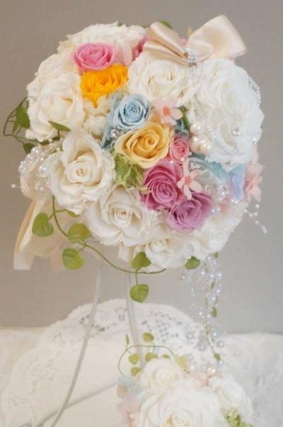 画像2: ミニーブーケ ラウンド 色違い可 スワロ&パールフリンジ 花のみ22cm