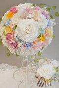 ミニーブーケ ラウンド スワロ&パールフリンジ 花のみ22cm