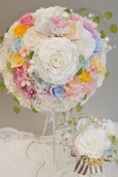 画像1: ミニーブーケ ラウンド 色違い可 スワロ&パールフリンジ 花のみ22cm