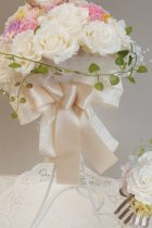 他の写真1: ミニーブーケ ラウンド 色違い可 スワロ&パールフリンジ 花のみ22cm