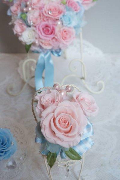 画像3: ミニーバックブーケ 花部分横幅 27cm ピンク&ブルー 色違い可