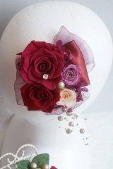 花とリボンのヘッドドレス ワニグチクリップの金具付タイプ