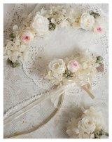 花冠&リストレット&ブートニアセット 1連・アジサイメイン ミニバラ 木の実 リボンとレース 色違可