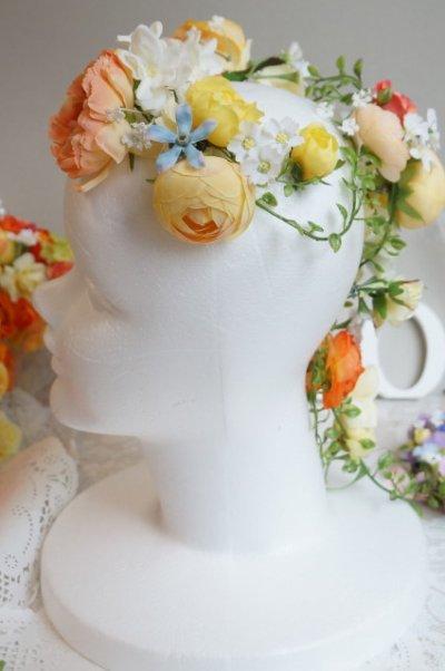 画像2: ヘッドドレス 花と つたのグリーンセット 色違い可 アーティフィシャルフラワー