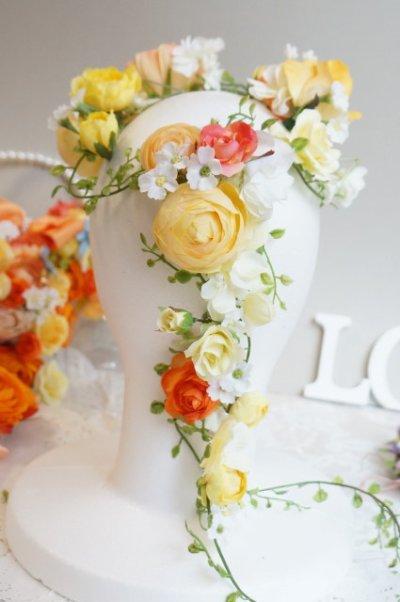 画像3: ヘッドドレス 花と つたのグリーンセット 色違い可 アーティフィシャルフラワー