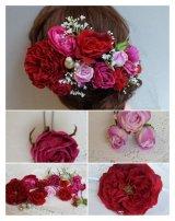 ヘッドドレス セット 大き目薔薇の入ったボリュームタイプ 色違い可 アーティフィシャルフラワー