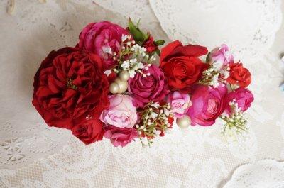 画像2: ヘッドドレス セット 大き目薔薇の入ったボリュームタイプ 色違い可 アーティフィシャルフラワー