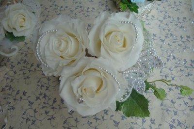 画像1: へッドドレス オフホワイト3本&クリスタルセット