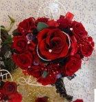 他の写真1: アモローサ&チュール スワロバタフライ 赤 横幅22cm(薔薇の部分のみ)