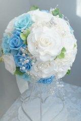 ラウンドブーケ スワロ ホワイト&ブルー 色違い可 幅(花のみ)22cm