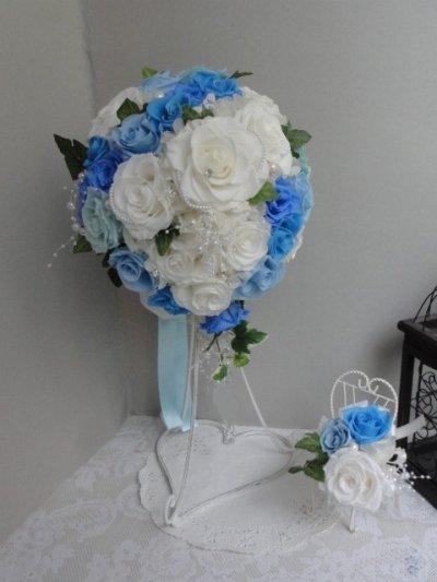 画像3: セミキャスケードブーケ オフホワイト&ブルー色違い可