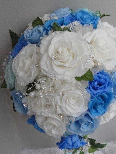 画像4: セミキャスケードブーケ オフホワイト&ブルー色違い可