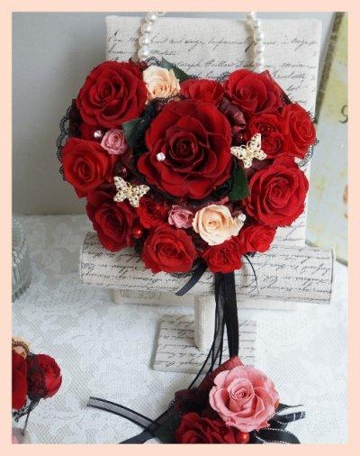画像2: アモローサ&チュール スワロバタフライ 赤 横幅22cm(薔薇の部分のみ)