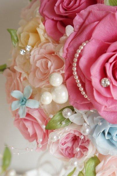 画像2: ミッキーブーケ ラウンド スワロ&パールフリンジ ピンク 花のみ22cm