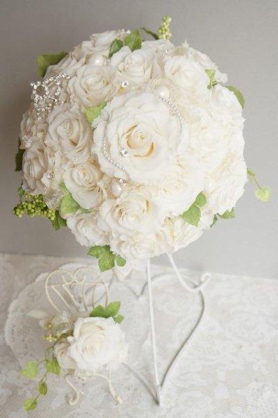 画像1: ラウンドブーケ スワロ クリスタルティアラ オフホワイト幅(花のみ)22cm