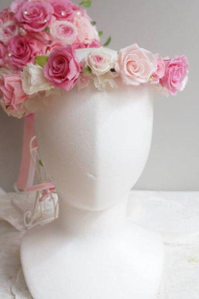 画像1: 花冠 1連・アジサイ、パール、リボン