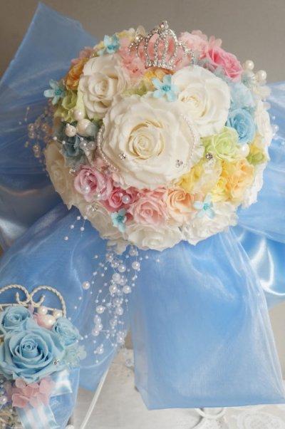 画像1: スワロの輝るミッキーブーケ 大き目リボンで スワロ 花のみ22cm
