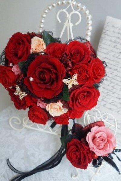 画像3: アモローサ&チュール スワロバタフライ 赤 横幅22cm(薔薇の部分のみ)
