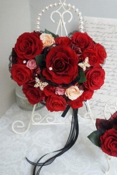 画像4: アモローサ&チュール スワロバタフライ 赤 横幅22cm(薔薇の部分のみ)