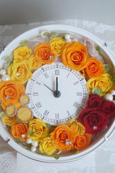 画像1: 花時計 丸 ミッキー 24cm クリスタルプレートメッセージ入り 色違可