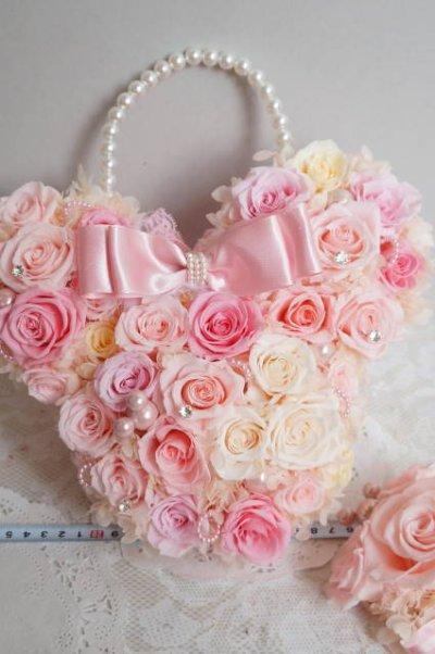 画像5: ミニーバックブーケ 花部分横幅 27cm 淡いピンク 色違い可