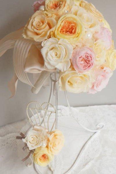 画像2: ラウンドブーケ オールドローズII スワロ 幅(花のみ)22cm