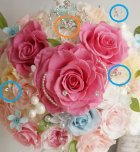他の写真1: ミッキーブーケ ラウンド スワロ&パールフリンジ ピンク 花のみ22cm