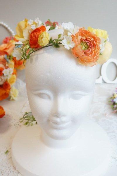 画像1: ヘッドドレス 花と つたのグリーンセット 色違い可 アーティフィシャルフラワー