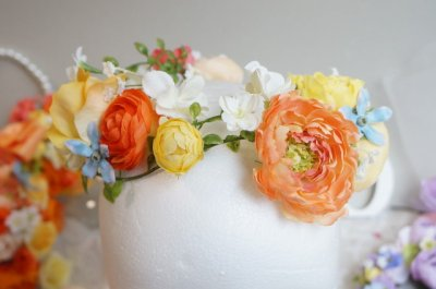 画像4: ヘッドドレス 花と つたのグリーンセット 色違い可 アーティフィシャルフラワー