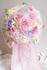 ミッキーブーケ ラウンド ピンクIII 100ミリリボン スワロミッキー&パールフリンジ 花のみ22cm
