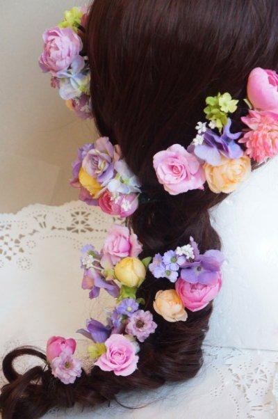 画像2: ヘッドドレス セット ラプンツェル風 II色違い ボリューム違い可 アーティフィシャルフラワー2