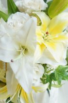 他の写真1: キャスケードブーケ カサブランカ7輪 スワロ 幅(花のみ)28cm  色違い可