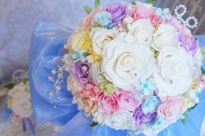 画像2: ミキミニブーケ ラウンド お色直しのできるエンチャンテッドなブーケ スワロ 花のみ21-22cm