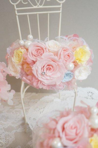 画像1: アームレット ミッキー ピンク アジサイとミニ薔薇でぐるっと  色違い可