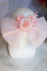 へッドドレス ミッキーシェイプ薔薇 大きなリボン カスミソウ アジサイミッキーパールセット 色違い可