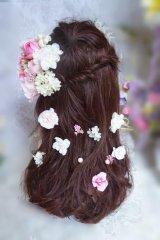 ヘッドドレス セット 耳の上にボリュームと小花セット パール付き
