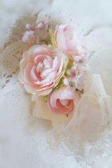 へッドドレス チュールフリルリボン 薔薇 こでまり アーティフィシャルフラワー
