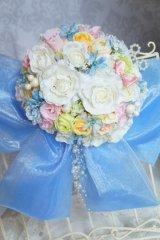 ミキミニブーケ ラウンド 大き目リボン アーティフィシャルフラワー リストレットプレゼント スワロ 花のみ22-23cm キャンペーン