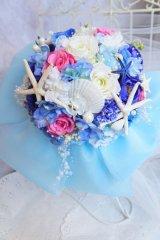 ラウンド ヒトデ 大き目リボン アーティフィシャルフラワー リストレットプレゼント スワロ 花のみ22-23cm キャンペーン