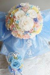 スワロの輝るミッキーブーケ 大き目リボンで スワロ 花のみ22cmブルー系II