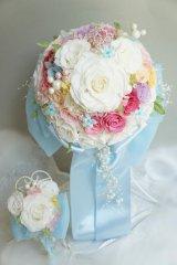 スワロの輝るミッキーブーケ オーガンジーリボンとサテンリボン スワロ 花のみ22cm色違い可