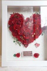 ウッドフレーム3L(31×39cm)赤薔薇ハート